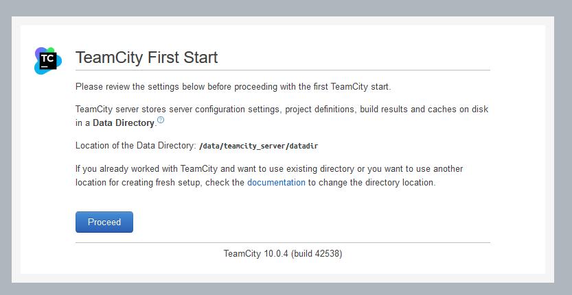 TeamCity First Start